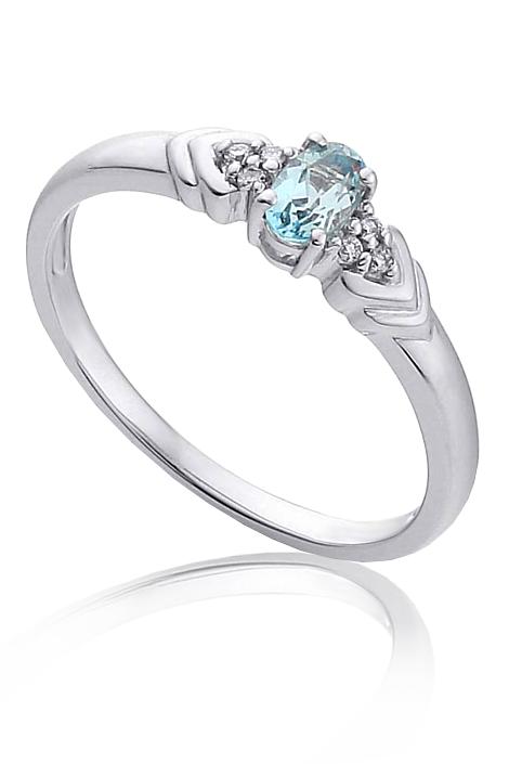 Zasnubni Prsten Bile Zlato Diamanty A Akvamarin Pretis A4 Kvalitni
