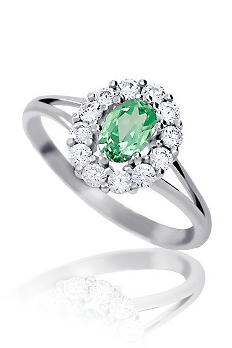 Zasnubni Prsten Z Bileho Zlata Se Zirkony A Smaragdem Kvalitni