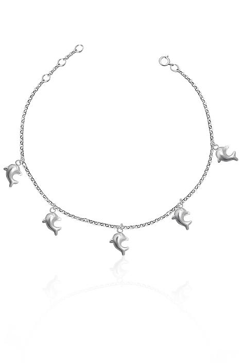 111280928 Dámský stříbrný náramek na nohu s delfínky : Kvalitní české šperky a ...