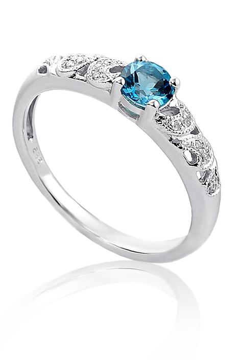Zasnubni Prsten Bile Zlato Diamanty A Topaz Pretis A3 Kvalitni